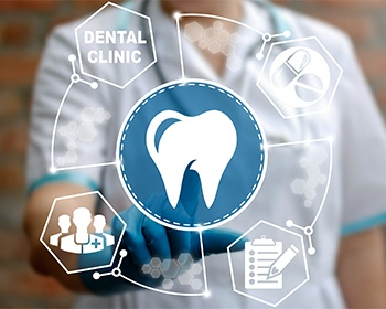 dental clinic and tooth display